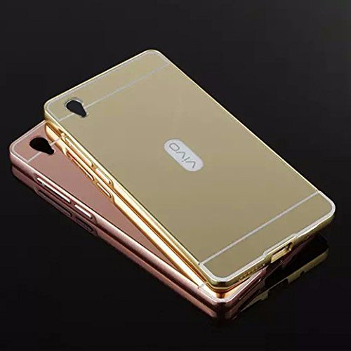 CEDO Premium Luxury Metal Bumper Acrylic Mirror Back Cover Case For For Vivo Y51 / Y51L - Gold
