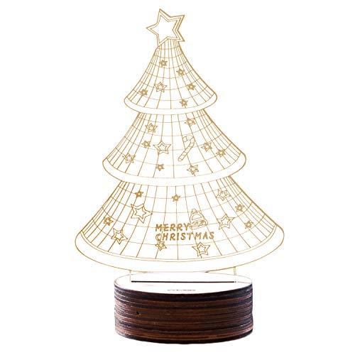 Beetest Veilleuse de Noël, Mode Mignon USB Propulsé 3D LED Nuit Lumière Lampe pour Boutique Shop Café Restaurant Bar Vacances Maison Chambre Décoration Arbre De Noël
