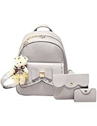 Tomtopp 3pcs Women PU Leather Bowknot Backpack School Bag Crossbody Bag Card Holder