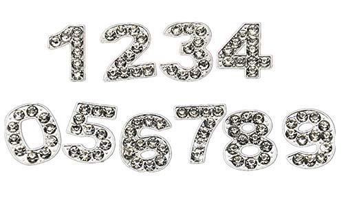 Fully 10MM DIY Straß Buchstaben Charms Totenkopf Hunde Blumen Pfoten Herz Stern Crown f. Hundehalsband Katze Collar Armband (Nummer: 8, 10MM)