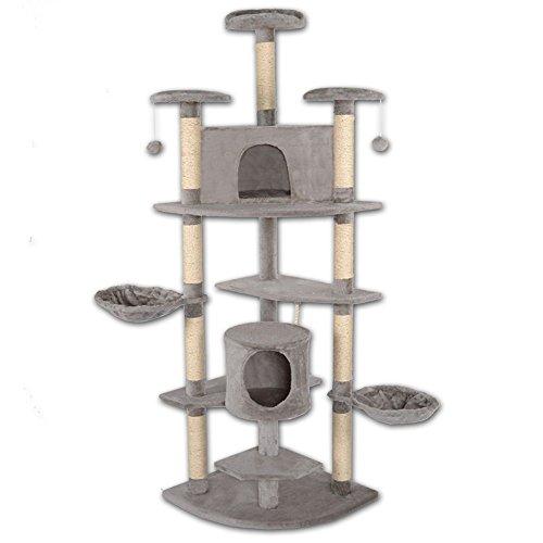 dibea KB00707, XXL Kratzbaum, Höhe 200 cm (als Eck-Kratzbaum geeignet), Kletterbaum für Katzen, hell-grau