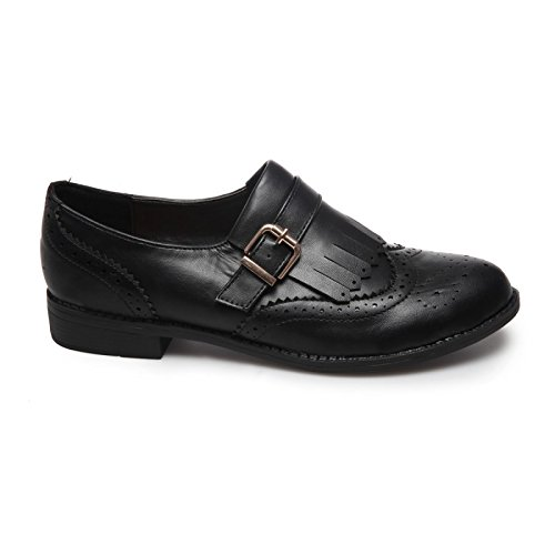 La Modeuse - Derbies femme aspect cuir Noir