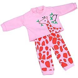 Baoblaze Juegos Dressup DIY Pijama de Vestir en Forma de Jirafas para Muñeca Muchacha 18 Pulgadas