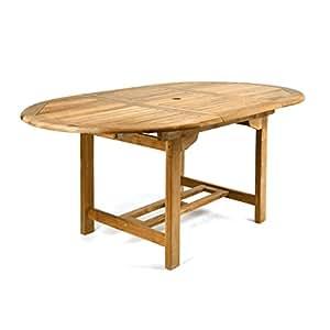 divero gl05520 ovaler ausziehbarer gartentisch esstisch balkontisch holz teak tisch. Black Bedroom Furniture Sets. Home Design Ideas