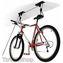 tradeshoptraesio®–Portabicicletas techo Cantina Garaje Polea 1Bicicleta 20kg MAX montaje fácil