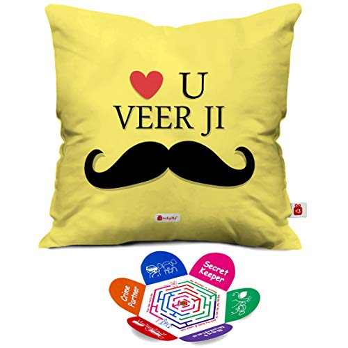 Indigifts Love You Veer Ji Quote Yellow Cushion Cover 12X12 Inches With Filler Rakhi Gifts For Men/Boys
