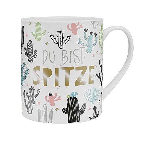 Happy Life 46232 XL Jumbo-Tasse mit Kaktus und Spruch Du bist Spitze, Porzellan, Tasse in Geschenk-Banderole
