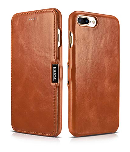 ICARER Tasche für Apple iPhone 8 Plus und iPhone 7 Plus (5.5 Zoll), Case mit Echt-Leder Außenseite, Schutz-Hülle seitlich aufklappbar, Ultra-Slim Cover, Etui im Vintage Look, Braun (Dämpfen Iphone)