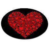 LB Regalo di San Valentino,Modello a Forma di Cuore,Rosso,Nero_Rotondo Area Tappeto Soggiorno Camera da Letto Bagno Cucina Tappetino Decorazioni per la casa,60x60 CM