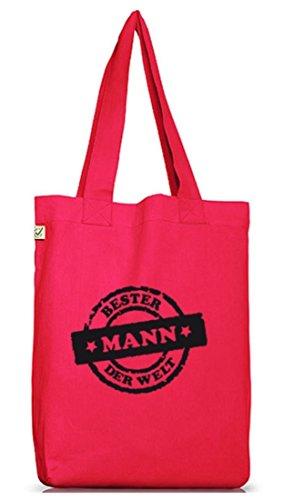 Shirtstreet24,Bester Mann der Welt Stempel, Valentinstag Jutebeutel Stoff Tasche Earth Positive Hot Pink