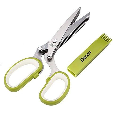 Ciseaux à Herbes - Decen Couteaux à Aliments Cisailles a Cinq Lames de 7,8 cm Persil Cutter en Acier Inoxydable avec Peigne