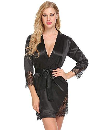 Schwarze Satin-robe (ADOME Damen Sexy Satin Japanischer Kimono kostüm Kurz Robe Chemise Dessous Set Nachtkleid Chemise Nachthemd Negligee Nachtwäsche Reizwäsche Babydoll Lingerie Schwarz)