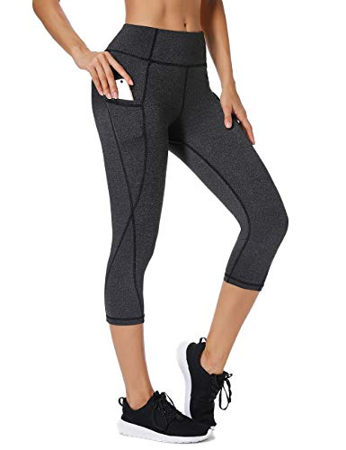 FITTOO Damen Yoga-Hose, Hoher Taillenbauch Kontrolle Workout 4-Wege-Stretch Leggings Gr. L, Capri - Ash Black