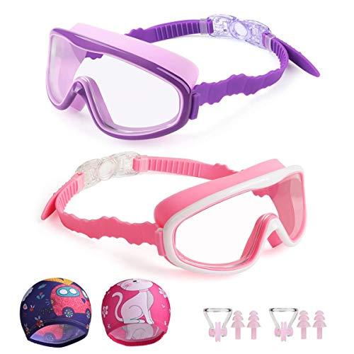 Kungber Kinder Schwimmbrillen für Kinder Taucherbrille Swimming Goggles,Anti-Fog-UV-Schutz Weiches Silikon Leckschutzbrille mit Badekappe Nasenklemmen Ohrstöpsel, Altersgruppe 3-15 (pink&Purple)
