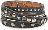 styleBREAKER Wickelarmband mit Strass, verschiedenen Nieten und Sterne, Armband, Damen 05040029, Farbe:Grau