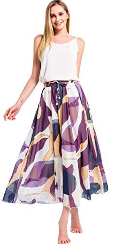 Damen Chiffon Rock Lange A-Linien Röcke Swing Maxirock mit Unterrock (Large, Violett)