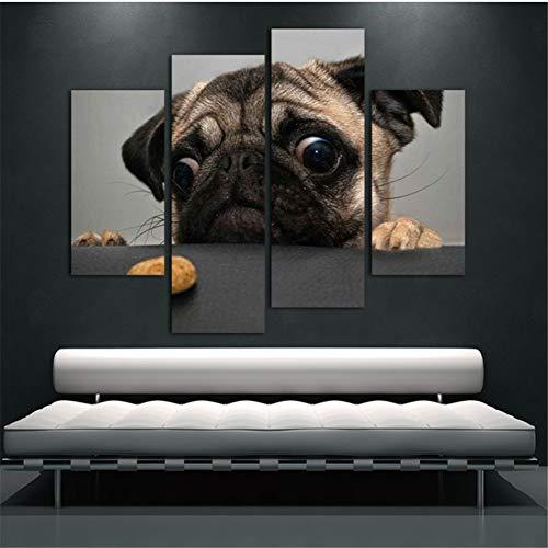 LJLSLH Leinwanddrucke 4 Stück Niedlichen Hund Mit Großen Augen Tiere Moderne Malerei Wandkunst Wohnzimmer Größe 3 (Kein Rahmen)