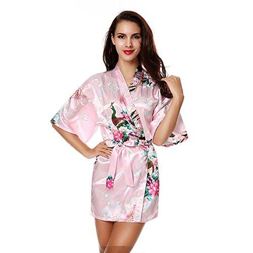 WDDGPZSY Nachthemd/Nachtwäsche/Schlafhemd/Homewear/Pyjamas/Seide Hochzeit Braut Brautjungfer Robe Floral Bademantel Satin Short Kimono Bademantel Plus Größe Nachthemd, Pink, M -