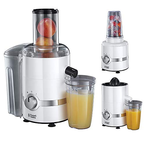 Russell Hobbs 22700-56 3-in-1 Entsafter, Smoothie Maker & Zitruspresse (1,1 PS-Motor, 800W, spülmaschinenfeste Teile, BPA-frei, Saftpresse Obst & Gemüse, elektrischer Zentrifugal Juicer Ultimativ)