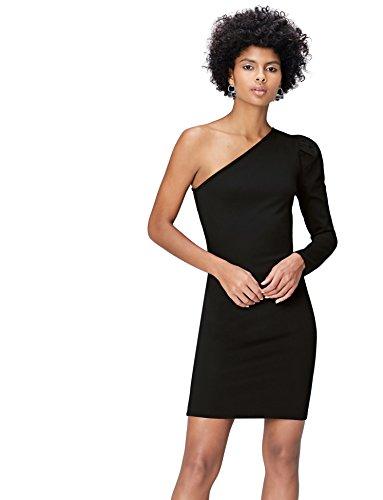 FIND Kleid Damen mit asymmetrischem Off-Shoulder-Design und Puffärmel Schwarz, 36 (Herstellergröße: Small)