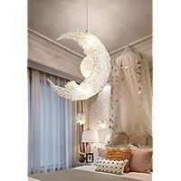 Creative Moon And Stars Fairy LED Pendant Lamp Chandelier Ceiling Light Kids Children Bedroom Decoration (White Light)