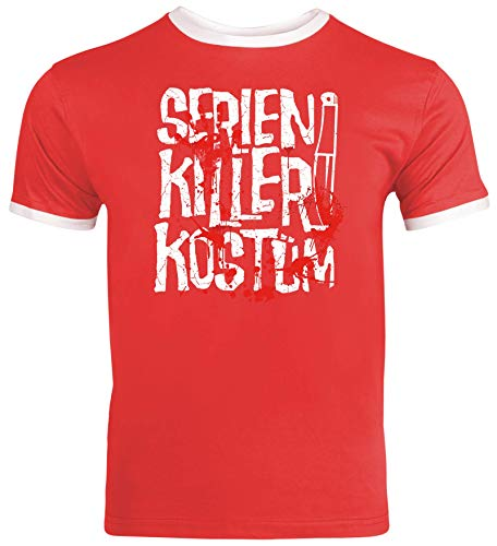Series World Kostüm - Fasching Karneval Gruppen Herren Männer Ringer Trikot T-Shirt Serien Killer Kostüm, Größe: S,Red/White