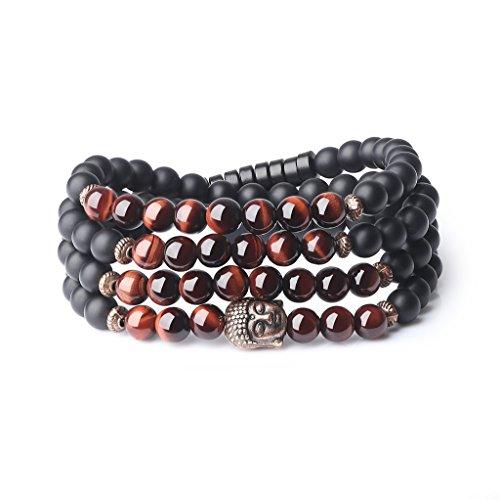 COAI® 108 Perles Bouddhistes Bracelet Mala 6mm Pierres Véritables Semi-Précieuses Onyx Noir Mat Œil de tigre Rouge Tête de Bouddha Unisexe 74cm