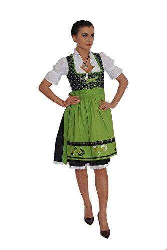Dirndl Set 3tlg.-Trachtenkleid, Bluse und Schurze - Trachtenmode Dirndl midi Schwarz und Grun - Grosse: 44