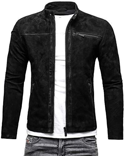 CRONE Epic Herren Lederjacke Cleane Leichte Basic Jacke aus weichem Wildleder (M, Vintage Schwarz (Wildleder))