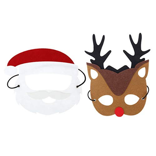 Toyvian 2 stücke Weihnachten Kostüm Maske Filz Weihnachtsmann Rentier Maske für Kinder Erwachsene Xmas Holiday Party Cosplay Kostüm Gefälligkeiten