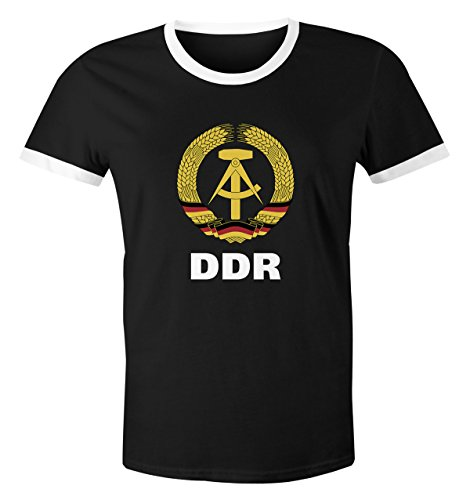 MoonWorks Herren WM-Shirt DDR Fan Nostalgie 2018 Retro schwarz-weiß 3XL