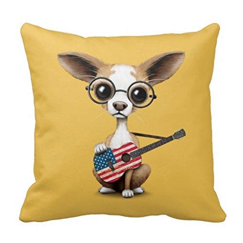 Chihuahua Puppy Hund Spielen American Flag Gitarre Überwurf Kissenbezug (Benutzerdefinierte Flag Garten)