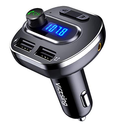 VICTSING Transmetteur FM Bluetooth, Voiture Adaptateur Radio Double USB Sans Fil Mains-Libres Lecteur Mp3 avec Entrée et Sortie Audio, Fente de Carte TF, Clé USB, Noir