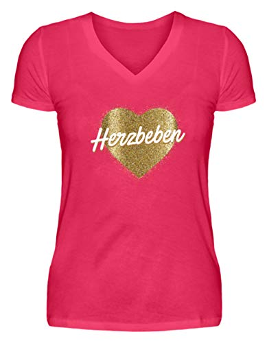 Shirtee Herzbeben - Goldenes Herz - Helene - V-Neck Damenshirt -M-Hot Pink
