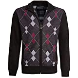 shelikes Mens Cardigan Diamond Pattern Check Fur Line Zip Up Long Sleeve Knitwear Pocket Grandad Jumper Sweater