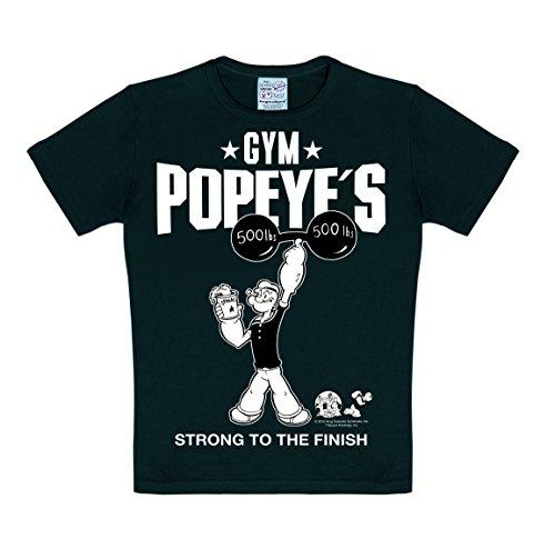 Logoshirt Popeye der Seemann - Popeye's Gym T-Shirt Kinder Jungen - schwarz - Lizenziertes Originalsdesign, Größe 158/164, 13-14 ()