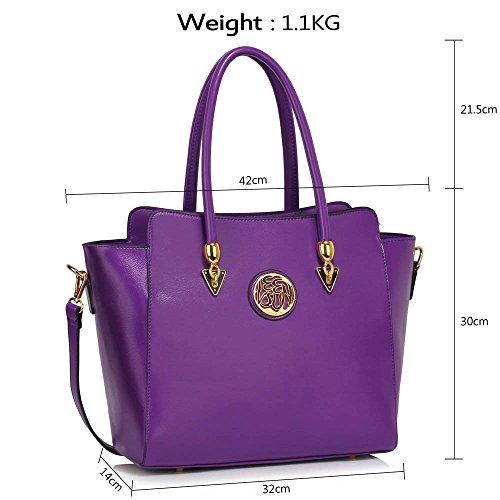 Damenhandtaschen Der Frauen Schulterbeutel Designer Neue Promi Stil Trage Groß (Lila Trage Bag1) A - Lila