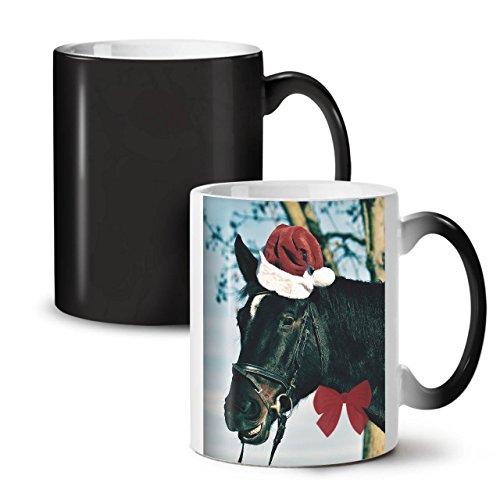 41QfVf9fWdL UK BEST BUY #1Festive Horse Christmas Holiday Black Colour Changing Tea Coffee Ceramic Mug 11 oz   Wellcoda price Reviews uk