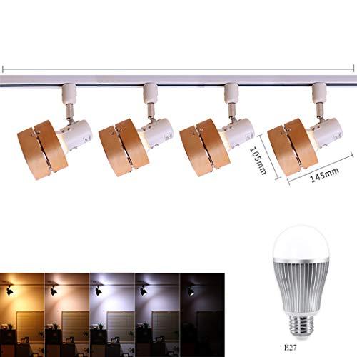 Vintage Deckenstrahler Track Light LED rustikal verstellbare 4-Licht-Strahler Beleuchtung mit LED-Glühbirne, Remote-Dimmen, 9W,B -