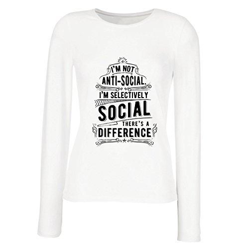 Camisetas de Manga Larga para Mujer No Soy Antisocial Solo selectivamente Social, Gracioso Diciendo, Citas de Humor sarcástico (X-Large Blanco