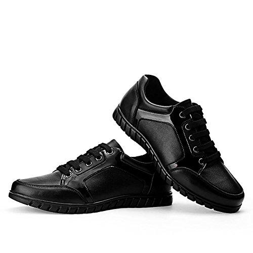 Herren outdoor casual Leder atmungsaktiv Slip Mode Sneaker Bootsschuh Black