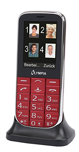 Olympia 2220 Joy II Mobile Phone Large Buttons Emergency Button Large Button Mobile Phone Suitable for Seniors Pensioners Without Contract Age Appropriate Phone with Buttons Red