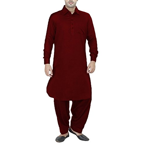 Royal-Mens-Cotton-Linen-Maroon-Pathani-Suit-For-Men