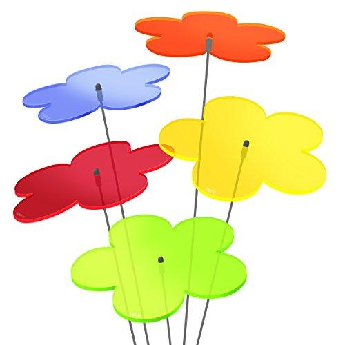 """SUNPLAY """"Sonnenfänger Blumen"""" im FARBMIX, 5 Stück zu je 20 cm Durchmesser im Set + 70 cm Schwingstäbe"""