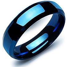 OBSEDE Su y Su Moda De Acero Inoxidable 316 l Banda Anillo Puro Azul Liso Parejas De Boda Anillo
