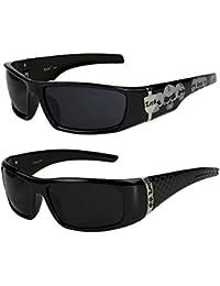 2er Pack Locs 9069 X06 Sonnenbrillen Motorradbrille Sportbrille Radbrille in der Farbe schwarz