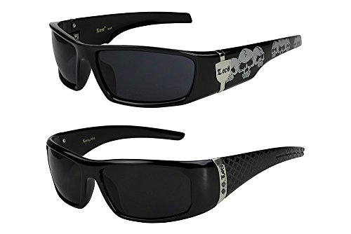 2er Pack Locs 9069 X 06 Sonnenbrillen Herren Damen Männer Brille - 1x Modell 04 (schwarz glänzend - Skull-Design/schwarz getönt) und 1x Modell 05 (schwarz glänzend - Square-Design/schwarz getönt)