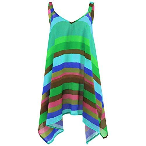 DEELIN Bluse Damen Sommer Plus Größe Streifen Pullover ärmellose Unregelmäßige Weste Tank Shirt Tops (XL, Grün)