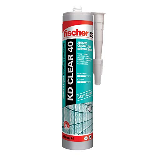 Fischer KD CLEAR 40 Adesivo sigillante Cristallino per vetro vetromattone e applicazioni ad alto pregio estetico 290 ml 544919