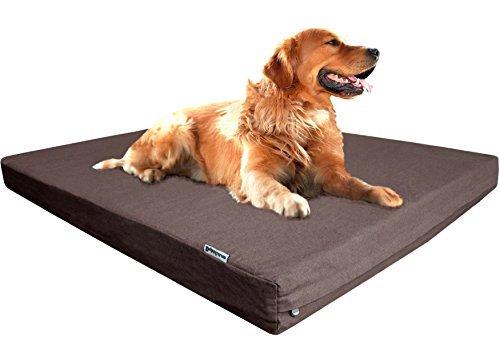dogbed4less Orthopädische Kühlung Hundebett aus Memory-Schaum für kleine, mittelgroße bis XL große Pet, wasserdicht Liner mit Langlebig abwaschbar Braun Denim und extra BONUS Externe Fall-7Größen, 47